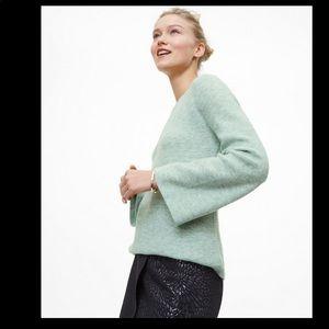 LOFT Heathered Green Textured Bell Sleeve …